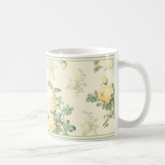 Blom- mugggul ros för shabby chic kaffe muggar