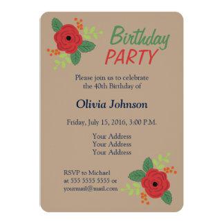 Blom- naturlig födelsedagsfest inbjudan för röd