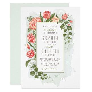 Blom- omfamningbröllopinbjudan 12,7 x 17,8 cm inbjudningskort