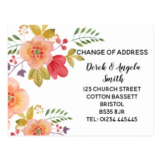 blom- orange adressändring som är ny adress vykort