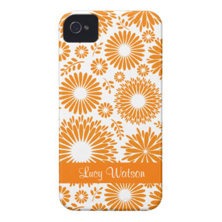 Blom- orange blackberry boldfodral för vintage iPhone 4 Case-Mate skydd