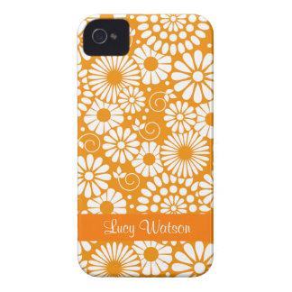 Blom- orange blackberry boldfodral för vintage iPhone 4 Case-Mate fodral