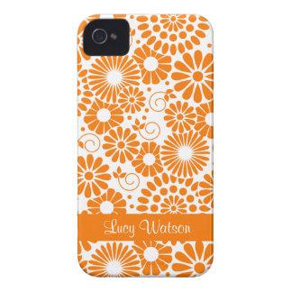 Blom- orange blackberry boldfodral för vintage iPhone 4 skal