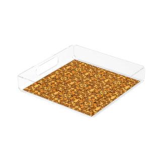 Blom- orange magasin för Paisley mönsterportion Bricka