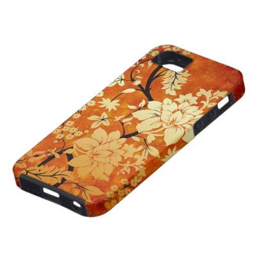 Blom- orientalisk stil för orange, för guld & för iPhone 5 Case-Mate cases