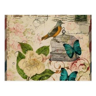 blom- paris för flickaktigt fransk botanisk fågel vykort
