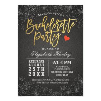 Blom- party inbjudan för guld & för Bachelorette