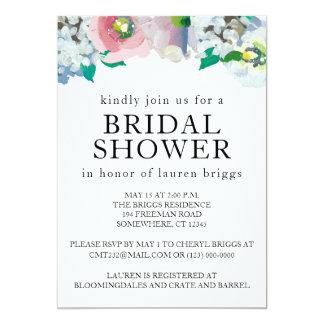 Blom- pastellfärgad vattenfärginbjudan för möhippa 12,7 x 17,8 cm inbjudningskort