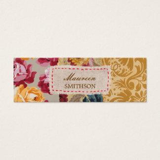 Blom- personlig för tygPatchwork (guld) Litet Visitkort