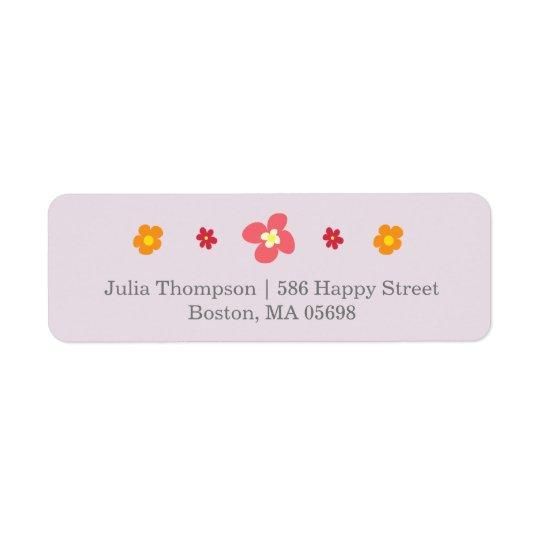 Blom- purpurfärgad returetiketter returadress etikett