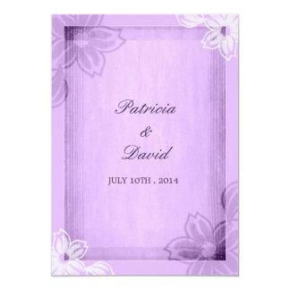 Blom- purpurfärgat bröllop för modern vattenfärg 12,7 x 17,8 cm inbjudningskort