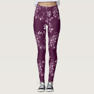 Blom- purpurfärgat retro inslag leggings