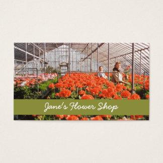 Blom- Retro botaniska växthusblommor Visitkort