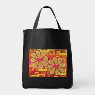 Blom- retro hjärtatote bags tygkasse