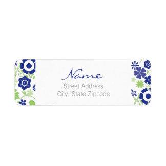 Blom- returadressetikett för blått och för grönt returadress etikett
