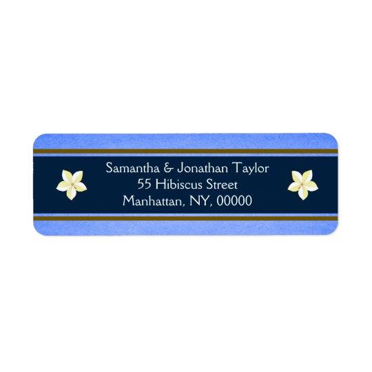 Blom- returetiketterfavörer för lantliga blått returadress etikett