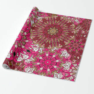 Blom- rödbruna mandalas presentpapper