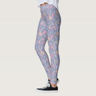 Blom- romantisk damasker för blått leggings