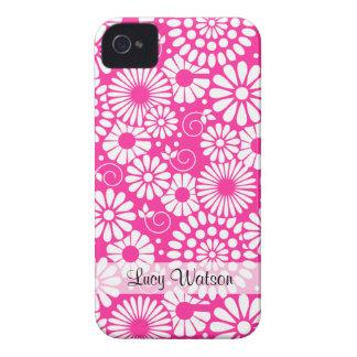 Blom- rosa blackberry boldfodral för vintage iPhone 4 Case-Mate skal