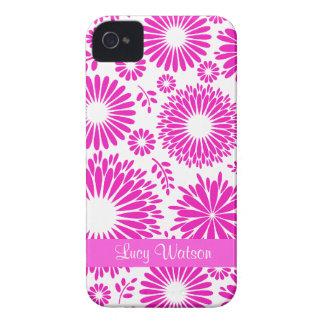 Blom- rosa blackberry boldfodral för vintage iPhone 4 Case-Mate skydd