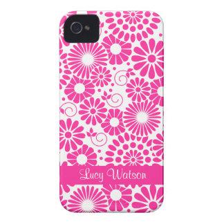 Blom- rosa blackberry boldfodral för vintage iPhone 4 cover