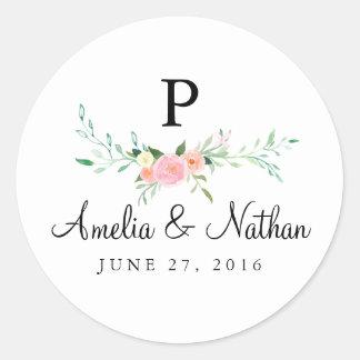 Blom- rosa bröllopklistermärke för söt vattenfärg runt klistermärke