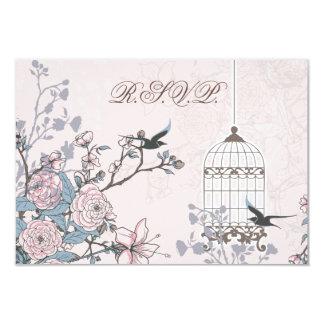 blom- rosa fågelbur, love birdsOSA 3,5 x 5 8,9 X 12,7 Cm Inbjudningskort