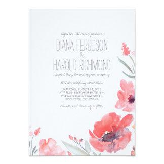 Blom- rosa kranbröllopsinbjudningar för vattenfärg 12,7 x 17,8 cm inbjudningskort