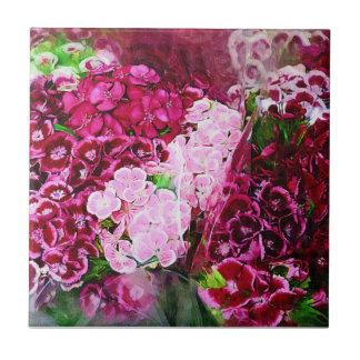 Blom- rosa magenta liten kakelplatta