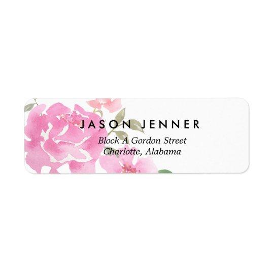 Blom- rosa pioner för vattenfärg som gifta sig returadress etikett