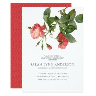 Blom- rosa studenteninbjudan för vintage 12,7 x 17,8 cm inbjudningskort