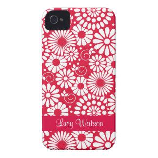 Blom- rött blackberry boldfodral för vintage iPhone 4 Case-Mate cases