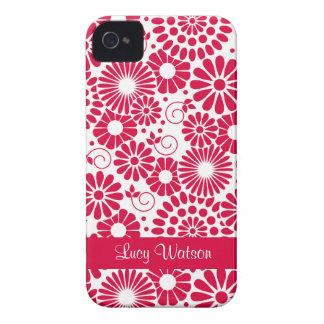 Blom- rött blackberry boldfodral för vintage iPhone 4 fodral