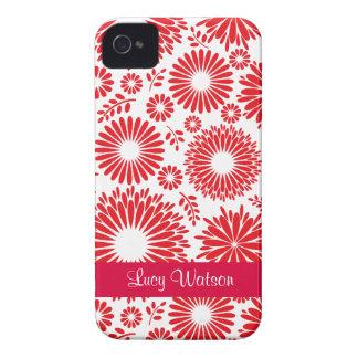 Blom- rött blackberry boldfodral för vintage iPhone 4 hud