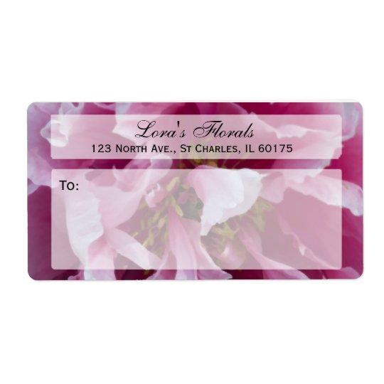 Blom- sändningsetikett för rosa pion fraktsedel
