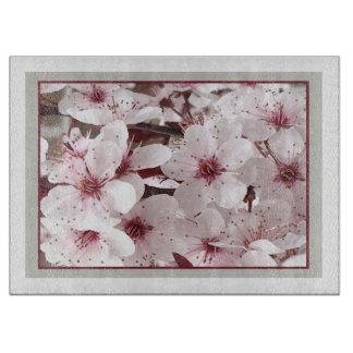 Blom- skärbräda för vår - Cranberry/vit/grått