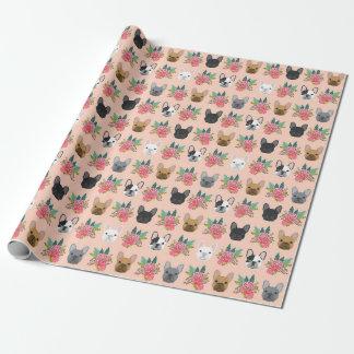 Blom- slående in papper för fransk bulldogg - presentpapper