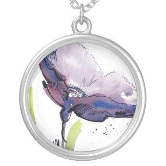 Blom- sommardesign med räcka-målad abstrakt silverpläterat halsband