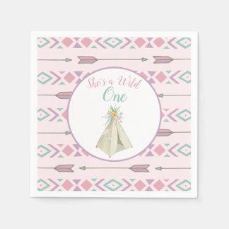 Blom- stam- Teepeevild en 1st födelsedag Pappersservetter