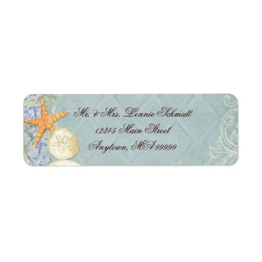 Blom- stuga vid det Beachy bröllop för snäckor Returadress Etikett