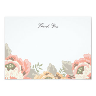 Blom- tackkortkort för vintage 11,4 x 15,9 cm inbjudningskort