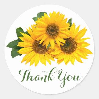 Blom- tacksolrosor gult & gröntblommor runt klistermärke