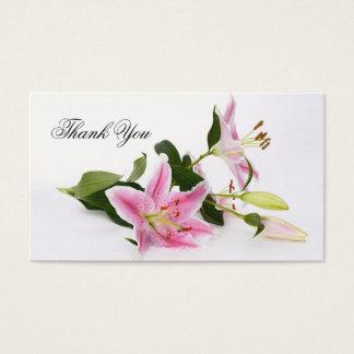 Blom- tackvisitkort för chic rosa liljar visitkort