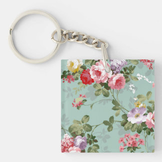 Blom- tapet för vintage fyrkantigt dubbelsidigt nyckelring i akryl