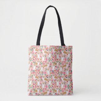 Blom- toto för Corgi - rosa Tygkasse