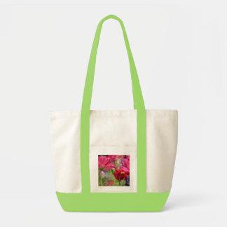 Blom- toto, rosa vildblommar, naturligt/limefrukt tygkasse