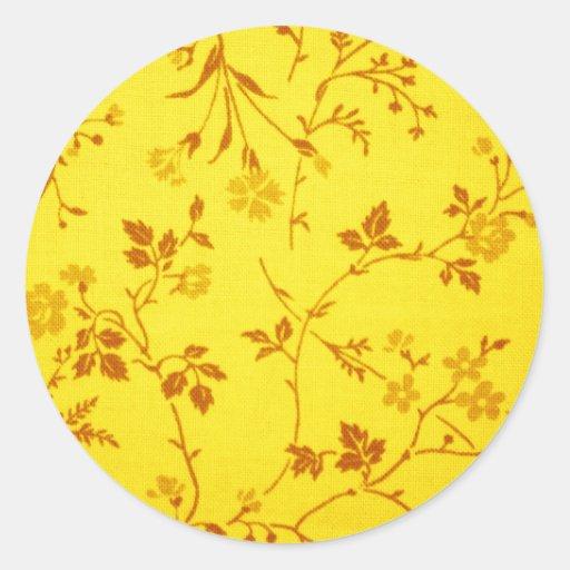 Blom- tyg runda klistermärken