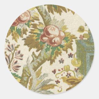 Blom- tyg för vintage (106) rund klistermärke