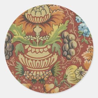 Blom- tyg för vintage (113) rund klistermärke