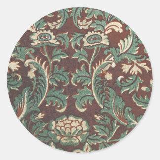 Blom- tyg för vintage (126) runda klistermärken